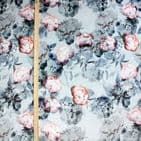 Jessamine Peony - Floral Printed Velvet - Curtains Upholstery Fabric - Silver Grey